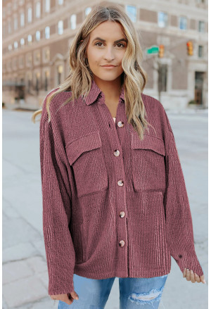 Pocketed Button Ribbed Textured Shacket