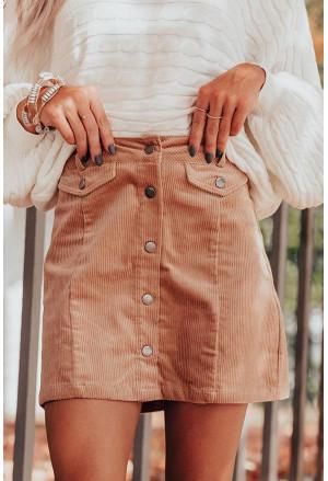 High Waist Button Corduroy Mini Skirt