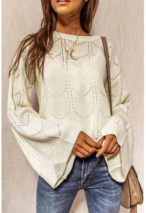 Flare Sleeve Texture Knit Sweater