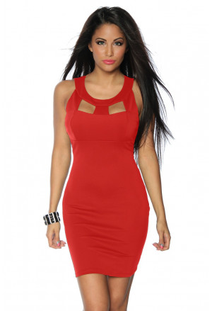 Short cut out bodycon red dress