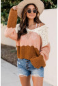 Puff Sleeve Color Block Pointelle Sweater