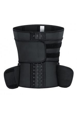 Black Neoprene Waist Trainers Gym Steel Bones Bodyshaper Belt