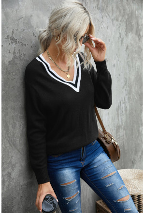 Deep V Contrasted Neckline Knitted Sweater