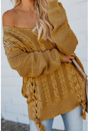 Love Letters Cable Knit Lace Up Sweater