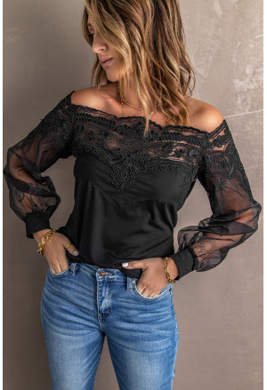 Off The Shoulder Lace Sheer Puff Sleeve Blouse