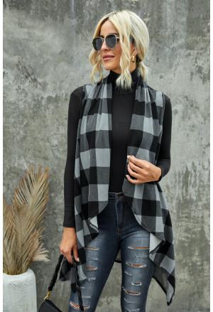 Plaid Asymmetric Sleeveless Cardigan