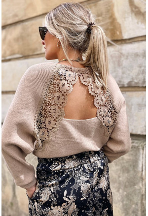 V Neck Lace Patch Hollow-out Back Sweater