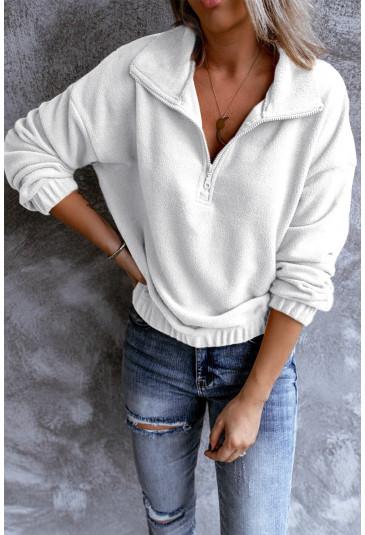 Turn-down Collar Long Sleeve Zipper Fleece Pullover Sweatshirt