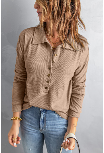 Button Front Turn-down Neck Knit Top