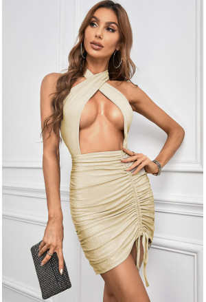 Halter Neck Crossed Front Hollow-out Cocktail Mini Dress