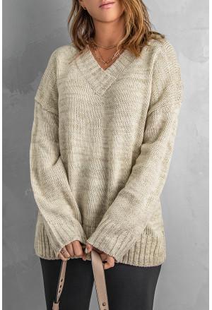 V neck Drop Shoulder Knitted Sweater
