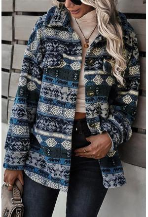 Tribal Print Pocket Buttoned Sherpa Jacket