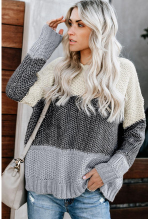 Block Netted Texture Pullover Sweater