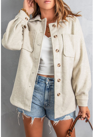 Button-up Turn Down Collar Solid Coat with Pocket