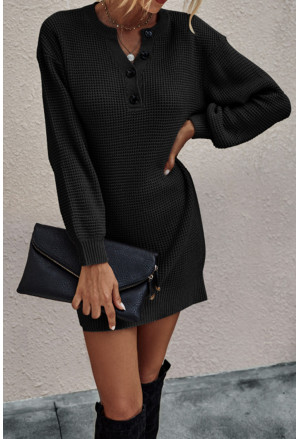 Buttoned Notched Neck Drop Shoulder Waffle Knit Sweater Dress