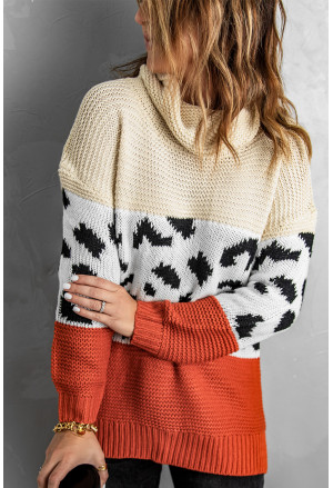 Turtleneck Splicing Chunky Knit Pullover Sweater