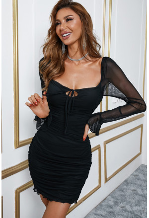 Mesh Sleeve Patch Ruched Square Neck Bodycon Dress