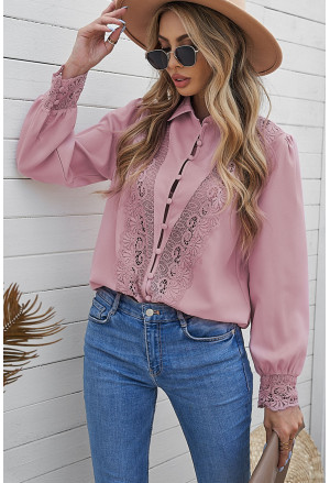 Lace Splicing Buttoned Shirt