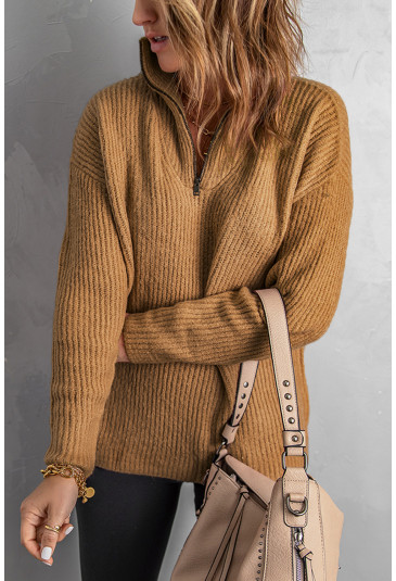 Zip Neck Knitted Sweater