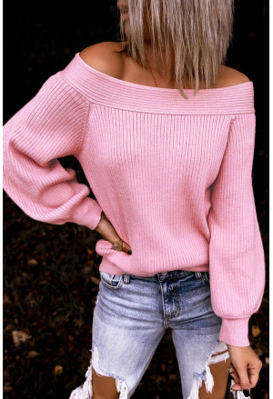 Off The Shoulder Ribbed Knitted Sweater
