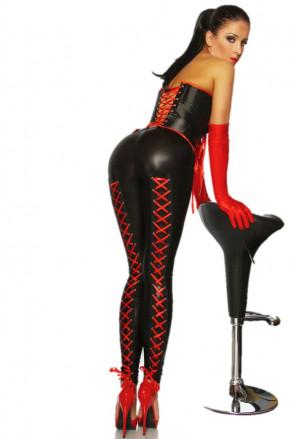 Sexy legíny vo wet looku s červenými šnúrkami