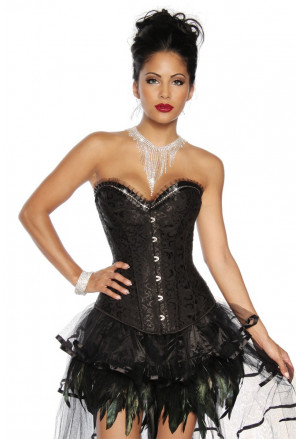 Luxurious black vamp corset with rhinestones