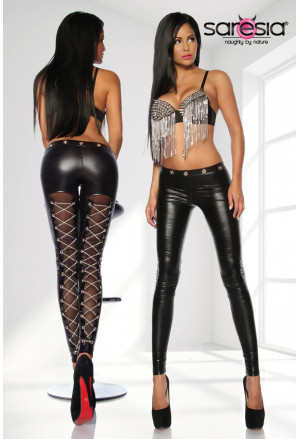 Exclusive wetlook leggings with chains