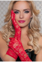 Sexy čipkované červené rukavice